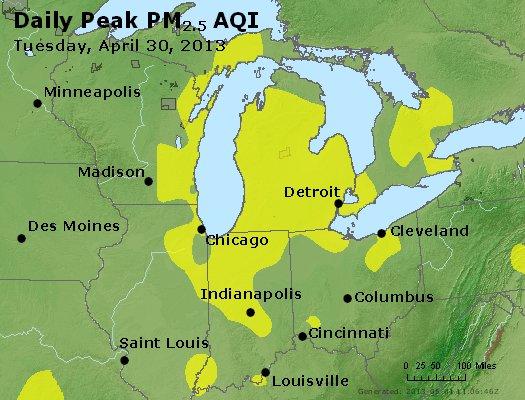 Peak Particles PM<sub>2.5</sub> (24-hour) - http://files.airnowtech.org/airnow/2013/20130430/peak_pm25_mi_in_oh.jpg