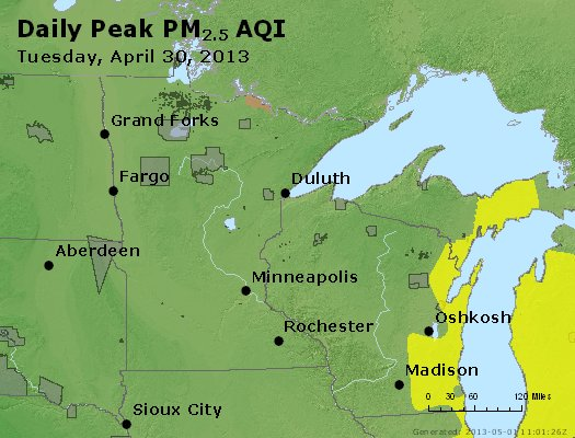 Peak Particles PM<sub>2.5</sub> (24-hour) - http://files.airnowtech.org/airnow/2013/20130430/peak_pm25_mn_wi.jpg