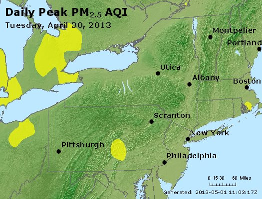 Peak Particles PM<sub>2.5</sub> (24-hour) - http://files.airnowtech.org/airnow/2013/20130430/peak_pm25_ny_pa_nj.jpg