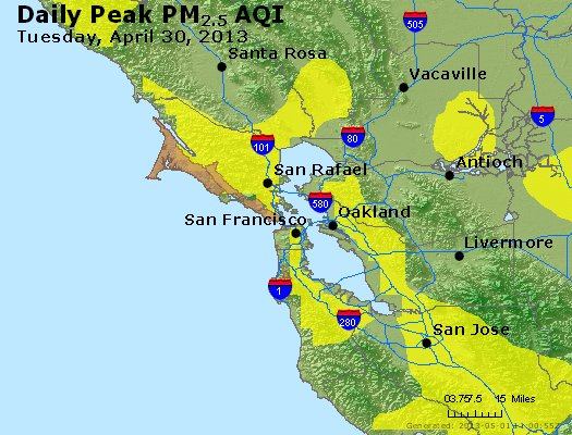 Peak Particles PM<sub>2.5</sub> (24-hour) - http://files.airnowtech.org/airnow/2013/20130430/peak_pm25_sanfrancisco_ca.jpg