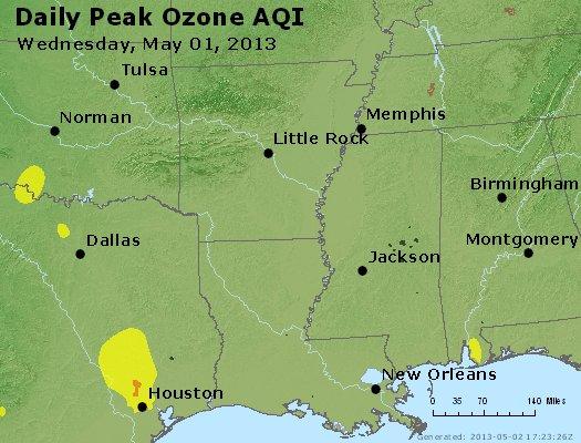 Peak Ozone (8-hour) - http://files.airnowtech.org/airnow/2013/20130501/peak_o3_ar_la_ms.jpg