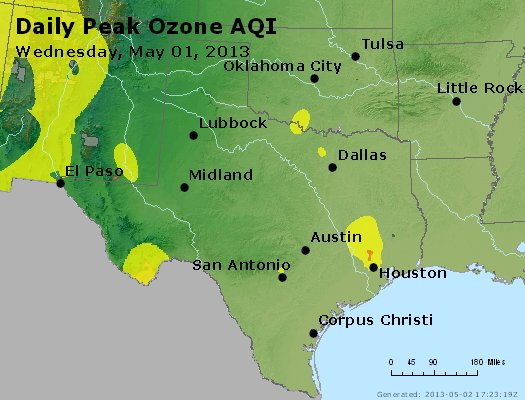 Peak Ozone (8-hour) - http://files.airnowtech.org/airnow/2013/20130501/peak_o3_tx_ok.jpg
