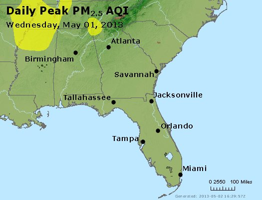 Peak Particles PM<sub>2.5</sub> (24-hour) - http://files.airnowtech.org/airnow/2013/20130501/peak_pm25_al_ga_fl.jpg