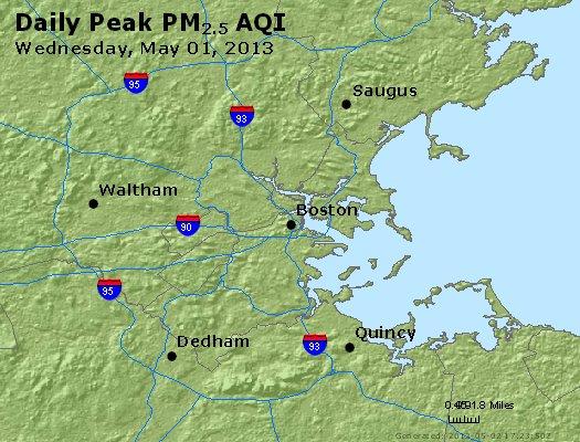 Peak Particles PM<sub>2.5</sub> (24-hour) - http://files.airnowtech.org/airnow/2013/20130501/peak_pm25_boston_ma.jpg