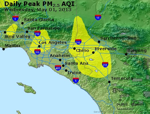 Peak Particles PM<sub>2.5</sub> (24-hour) - http://files.airnowtech.org/airnow/2013/20130501/peak_pm25_losangeles_ca.jpg