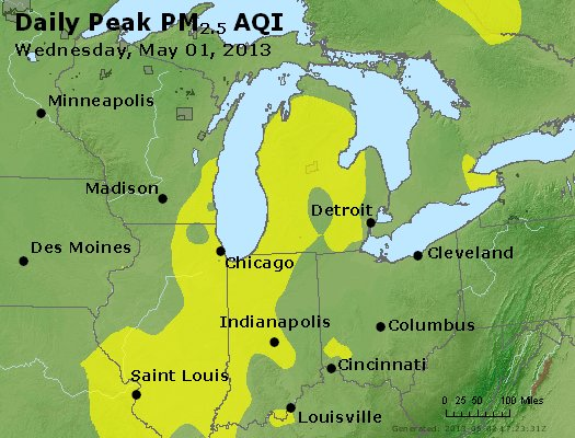 Peak Particles PM<sub>2.5</sub> (24-hour) - http://files.airnowtech.org/airnow/2013/20130501/peak_pm25_mi_in_oh.jpg