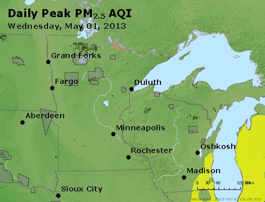 Peak Particles PM<sub>2.5</sub> (24-hour) - http://files.airnowtech.org/airnow/2013/20130501/peak_pm25_mn_wi.jpg
