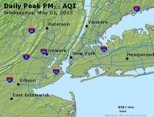 Peak Particles PM<sub>2.5</sub> (24-hour) - http://files.airnowtech.org/airnow/2013/20130501/peak_pm25_newyork_ny.jpg