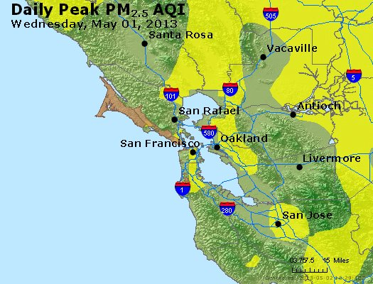 Peak Particles PM<sub>2.5</sub> (24-hour) - http://files.airnowtech.org/airnow/2013/20130501/peak_pm25_sanfrancisco_ca.jpg