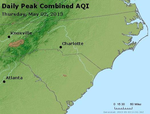 Peak AQI - http://files.airnowtech.org/airnow/2013/20130502/peak_aqi_nc_sc.jpg