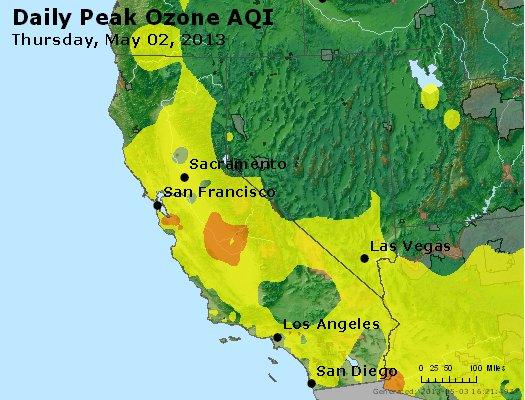Peak Ozone (8-hour) - http://files.airnowtech.org/airnow/2013/20130502/peak_o3_ca_nv.jpg