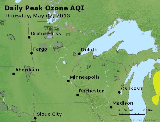 Peak Ozone (8-hour) - http://files.airnowtech.org/airnow/2013/20130502/peak_o3_mn_wi.jpg