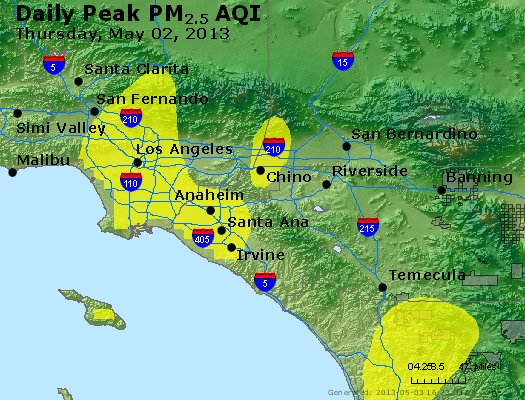 Peak Particles PM<sub>2.5</sub> (24-hour) - http://files.airnowtech.org/airnow/2013/20130502/peak_pm25_losangeles_ca.jpg