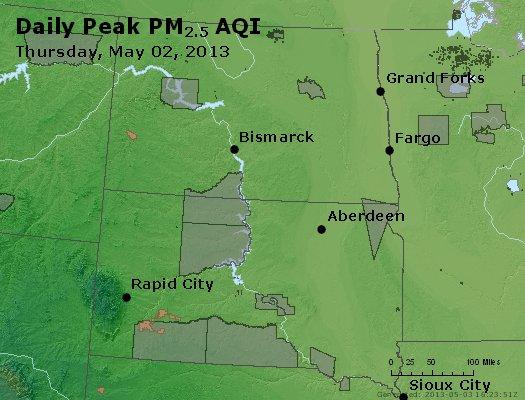 Peak Particles PM<sub>2.5</sub> (24-hour) - http://files.airnowtech.org/airnow/2013/20130502/peak_pm25_nd_sd.jpg