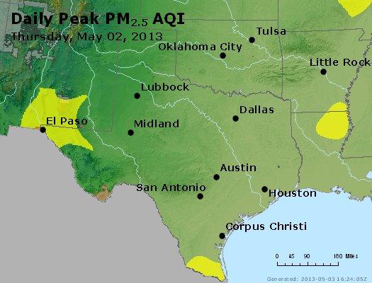 Peak Particles PM<sub>2.5</sub> (24-hour) - http://files.airnowtech.org/airnow/2013/20130502/peak_pm25_tx_ok.jpg