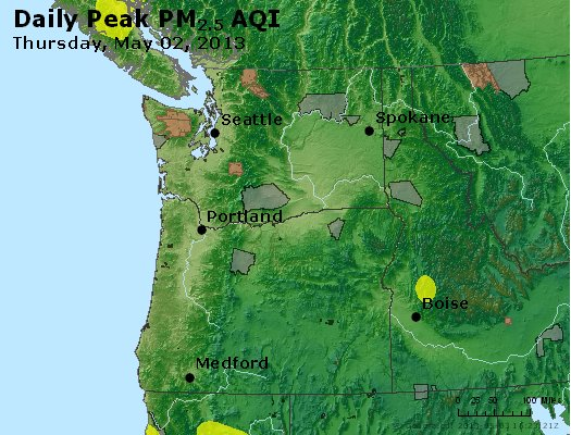 Peak Particles PM<sub>2.5</sub> (24-hour) - http://files.airnowtech.org/airnow/2013/20130502/peak_pm25_wa_or.jpg