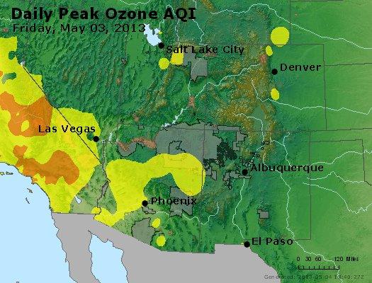 Peak Ozone (8-hour) - http://files.airnowtech.org/airnow/2013/20130503/peak_o3_co_ut_az_nm.jpg