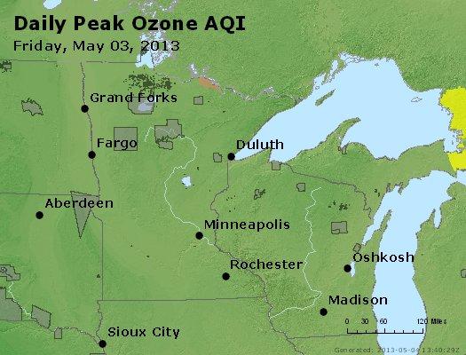 Peak Ozone (8-hour) - http://files.airnowtech.org/airnow/2013/20130503/peak_o3_mn_wi.jpg