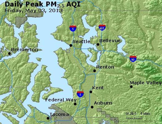 Peak Particles PM<sub>2.5</sub> (24-hour) - http://files.airnowtech.org/airnow/2013/20130503/peak_pm25_seattle_wa.jpg