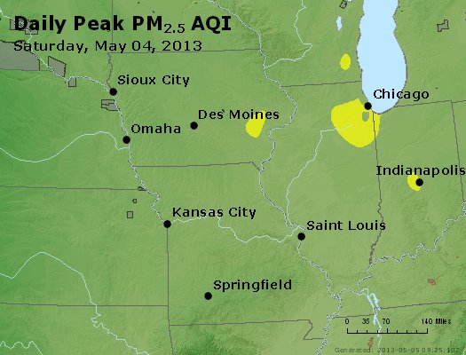 Peak Particles PM<sub>2.5</sub> (24-hour) - http://files.airnowtech.org/airnow/2013/20130504/peak_pm25_ia_il_mo.jpg