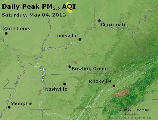 Peak Particles PM<sub>2.5</sub> (24-hour) - http://files.airnowtech.org/airnow/2013/20130504/peak_pm25_ky_tn.jpg