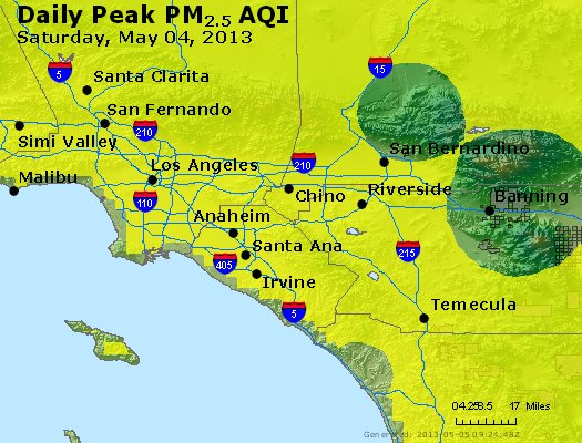 Peak Particles PM<sub>2.5</sub> (24-hour) - http://files.airnowtech.org/airnow/2013/20130504/peak_pm25_losangeles_ca.jpg