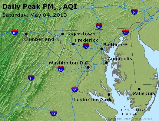 Peak Particles PM<sub>2.5</sub> (24-hour) - http://files.airnowtech.org/airnow/2013/20130504/peak_pm25_maryland.jpg