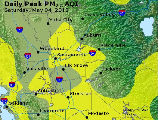 Peak Particles PM<sub>2.5</sub> (24-hour) - http://files.airnowtech.org/airnow/2013/20130504/peak_pm25_sacramento_ca.jpg