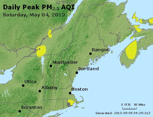 Peak Particles PM<sub>2.5</sub> (24-hour) - http://files.airnowtech.org/airnow/2013/20130504/peak_pm25_vt_nh_ma_ct_ri_me.jpg