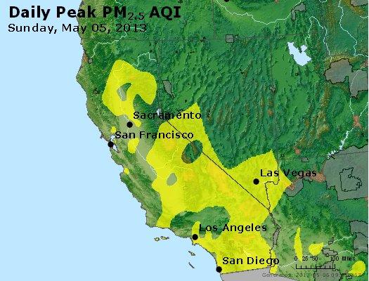 Peak Particles PM<sub>2.5</sub> (24-hour) - http://files.airnowtech.org/airnow/2013/20130505/peak_pm25_ca_nv.jpg