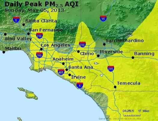 Peak Particles PM<sub>2.5</sub> (24-hour) - http://files.airnowtech.org/airnow/2013/20130505/peak_pm25_losangeles_ca.jpg