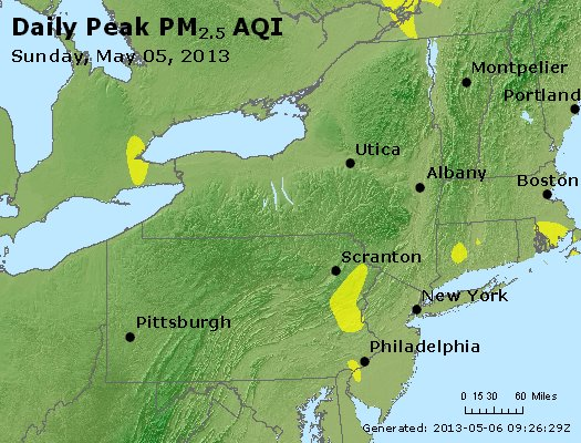 Peak Particles PM<sub>2.5</sub> (24-hour) - http://files.airnowtech.org/airnow/2013/20130505/peak_pm25_ny_pa_nj.jpg