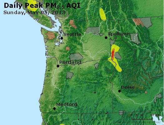 Peak Particles PM<sub>2.5</sub> (24-hour) - http://files.airnowtech.org/airnow/2013/20130505/peak_pm25_wa_or.jpg