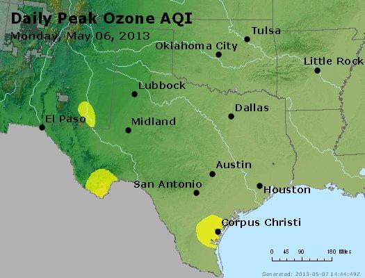 Peak Ozone (8-hour) - http://files.airnowtech.org/airnow/2013/20130506/peak_o3_tx_ok.jpg