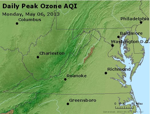Peak Ozone (8-hour) - http://files.airnowtech.org/airnow/2013/20130506/peak_o3_va_wv_md_de_dc.jpg