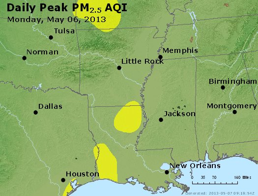 Peak Particles PM<sub>2.5</sub> (24-hour) - http://files.airnowtech.org/airnow/2013/20130506/peak_pm25_ar_la_ms.jpg