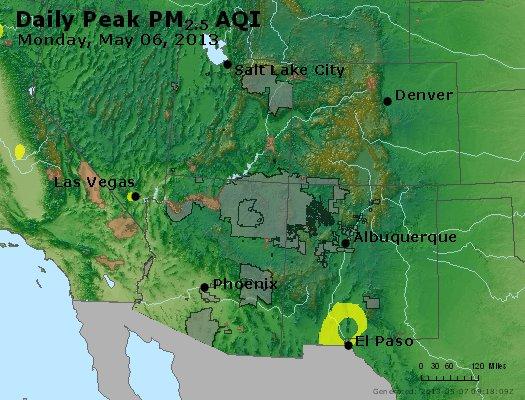 Peak Particles PM<sub>2.5</sub> (24-hour) - http://files.airnowtech.org/airnow/2013/20130506/peak_pm25_co_ut_az_nm.jpg