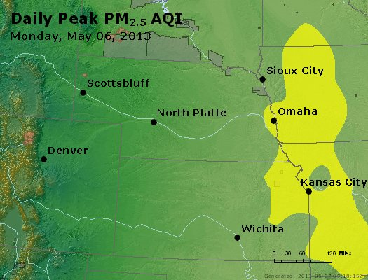 Peak Particles PM<sub>2.5</sub> (24-hour) - http://files.airnowtech.org/airnow/2013/20130506/peak_pm25_ne_ks.jpg