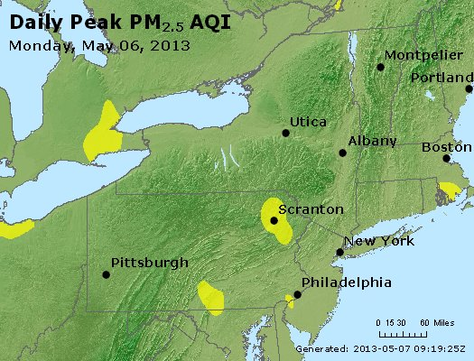 Peak Particles PM<sub>2.5</sub> (24-hour) - http://files.airnowtech.org/airnow/2013/20130506/peak_pm25_ny_pa_nj.jpg