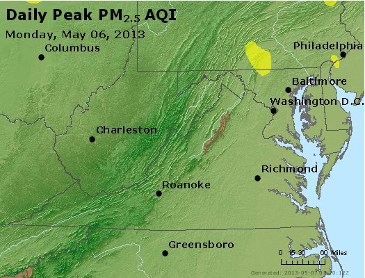 Peak Particles PM<sub>2.5</sub> (24-hour) - http://files.airnowtech.org/airnow/2013/20130506/peak_pm25_va_wv_md_de_dc.jpg