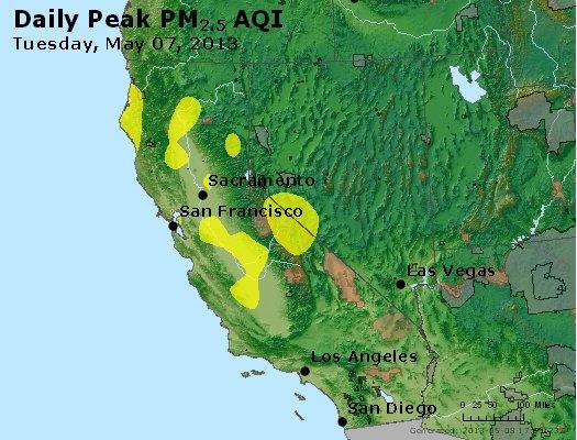 Peak Particles PM<sub>2.5</sub> (24-hour) - http://files.airnowtech.org/airnow/2013/20130507/peak_pm25_ca_nv.jpg