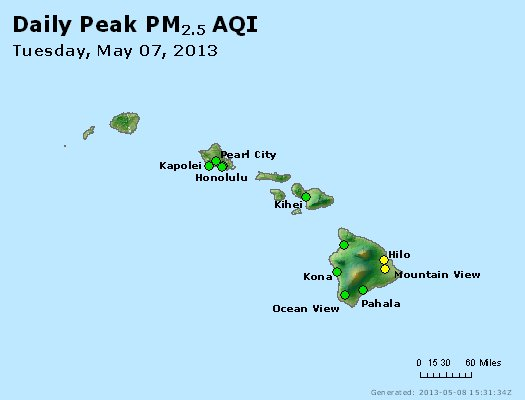 Peak Particles PM<sub>2.5</sub> (24-hour) - http://files.airnowtech.org/airnow/2013/20130507/peak_pm25_hawaii.jpg