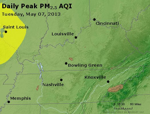 Peak Particles PM<sub>2.5</sub> (24-hour) - http://files.airnowtech.org/airnow/2013/20130507/peak_pm25_ky_tn.jpg