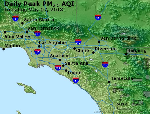 Peak Particles PM<sub>2.5</sub> (24-hour) - http://files.airnowtech.org/airnow/2013/20130507/peak_pm25_losangeles_ca.jpg