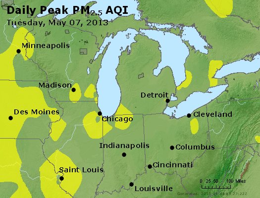 Peak Particles PM<sub>2.5</sub> (24-hour) - http://files.airnowtech.org/airnow/2013/20130507/peak_pm25_mi_in_oh.jpg