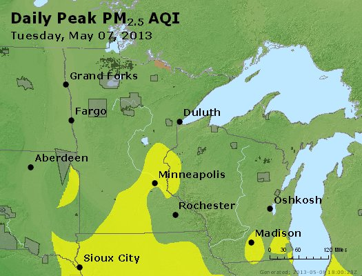 Peak Particles PM<sub>2.5</sub> (24-hour) - http://files.airnowtech.org/airnow/2013/20130507/peak_pm25_mn_wi.jpg