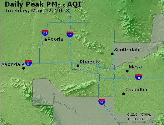 Peak Particles PM<sub>2.5</sub> (24-hour) - http://files.airnowtech.org/airnow/2013/20130507/peak_pm25_phoenix_az.jpg