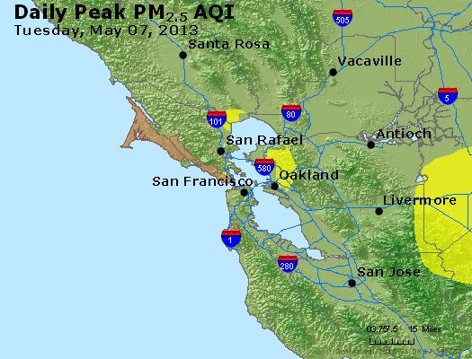 Peak Particles PM<sub>2.5</sub> (24-hour) - http://files.airnowtech.org/airnow/2013/20130507/peak_pm25_sanfrancisco_ca.jpg