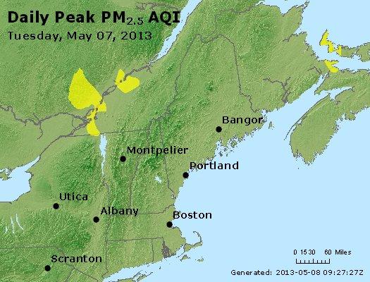 Peak Particles PM<sub>2.5</sub> (24-hour) - http://files.airnowtech.org/airnow/2013/20130507/peak_pm25_vt_nh_ma_ct_ri_me.jpg