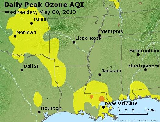 Peak Ozone (8-hour) - http://files.airnowtech.org/airnow/2013/20130508/peak_o3_ar_la_ms.jpg